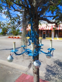 An unusual cupcake chandelier seen in Northwood Village, West Palm, Florida